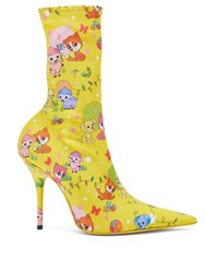 Balenciaga Knife Puppy And Friends Printed Booties Yellow Multi