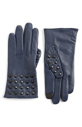 Women's Echo 'Touch Studded' Leather Glove Indigo