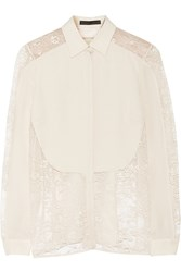 Elie Saab Lace Paneled Silk Crepe De Chine Blouse White