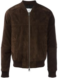 Ami Alexandre Mattiussi Raglan Sleeve Zipped Bomber Jacket Brown