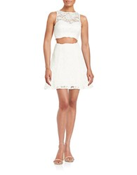 Xscape Evenings Cropped Top And Skirt Set Ivory