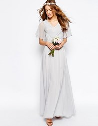 Asos Wedding Lace And Pleat Maxi Dress Gray
