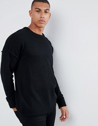 Another Influence Drop Shoulder Knitted Jumper Black