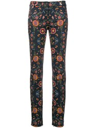 Christian Dior Vintage Floral Printed Denim Trousers Blue