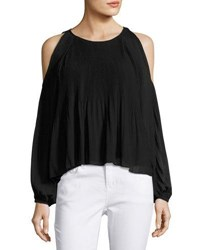 Romeo And Juliet Couture Pleated Chiffon Cold Shoulder Blouse Pink