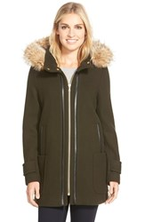 Women's Trina Turk 'Allyson' Genuine Coyote Fur Trim Wool Blend Duffle Coat Olive
