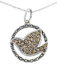Lord And Taylor Crystal Bird Pendant Necklace Silver