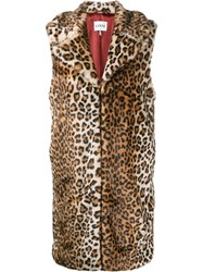 Ganni Sleeveless Faux Fur Coat Brown