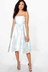 Boohoo Ela Floral Sateen Strappy Midi Dress Mint