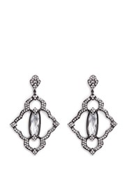 Cz By Kenneth Jay Lane Cubic Zirconia Centre Stone Pave Frame Drop Earrings White