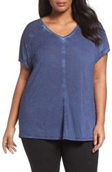 Sejour Plus Size Women's V Neck Tee Navy Peacoat