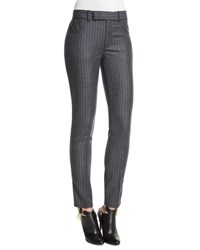 Tom Ford Mid Rise Pinstripe Skinny Pants Charcoal Gray Charcoal Grey
