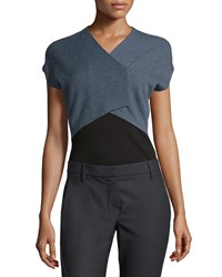 Brunello Cucinelli Cashmere Cropped Short Sleeve Sweater Blue