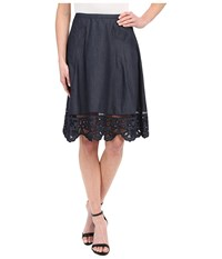 Adrianna Papell Chambray Skirt With Button Trim Midnight Blue Women's Skirt