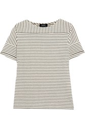 A.P.C. Atelier De Production Et De Creation Malia Striped Cotton Blend T Shirt Ecru