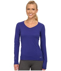 Arc'teryx Motus Crew L S Tanzanite Women's Long Sleeve Pullover Blue