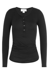 Velvet Jersey Top With Buttons Black