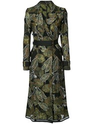 Yigal Azrouel Leaf Embroidered Trench Coat Women Cotton Polyester 4 Green