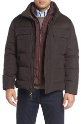Cole Haan Men's Quilted Military Jacket Espresso