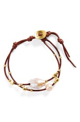 Chan Luu Women's Pearl And Leather Bracelet Pink Pearl Brown