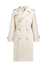 Maison Martin Margiela Double Breasted Twill Trench Coat Beige