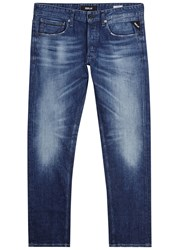 Replay Grover Dark Blue Faded Straight Leg Jeans