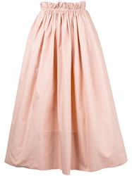 Chloe Paper Bag Waist Midi Skirt Women Cotton 44 Pink Purple