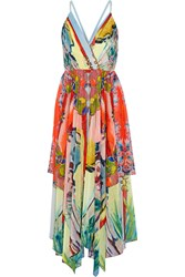 Alice Olivia Orly Printed Chiffon Maxi Dress Yellow