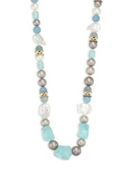 Alexis Bittar Elements Multi Bead Sea Glass And Pearl Long Necklace 38 Aqua Multi