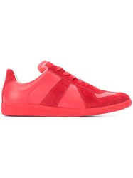 Maison Martin Margiela Tonal Lace Up Sneakers Men Leather Rubber 45 Red