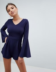 Girl In Mind V Neck Flute Sleeve Playsuit Navy