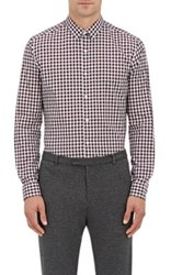 Theory Men's Zack. Garber Gingham Cotton Shirt White Burgundy Black White Burgundy Black