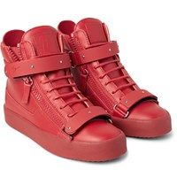 Giuseppe Zanotti Leather High Top Sneakers Red