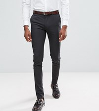 Asos Tall Super Skinny Smart Trousers In Charcoal Charcoal Grey
