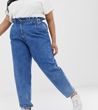 Asos Design Curve Paper Bag Boyfriend Jeans In Mid Vintage Wash Blue With Buckle Detail