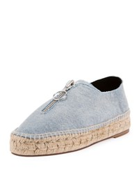 Alexander Wang Devon Denim Zip Front Espadrille Blue