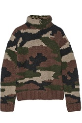 Nlst Camouflage Wool And Cashmere Blend Oversized Turtleneck Sweater Green