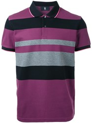 Kent And Curwen Striped Polo Shirt Pink Purple