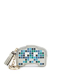 Anya Hindmarch Space Invaders Robot Leather Coin Purse Light Blue