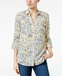 Charter Club Petite Plaid Roll Tab Shirt Only At Macy's Cloud Combo
