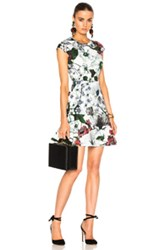 Erdem Darlina Yuki Garden Neoprene Jersey Dress In Floral White Floral White