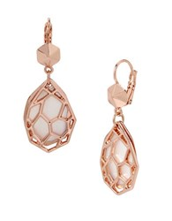 Kenneth Cole Under Construction Shell Mother Of Pearl Geometric Cutout Layered Drop Earrings Rose Gold