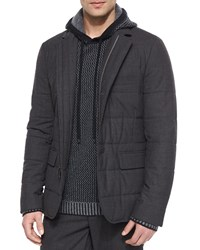Vince Quilted Zip Up Blazer Dark Gray