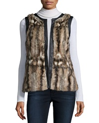 Design History Faux Fur Vest W Contrast Trim Brown