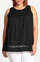 Caslonr Plus Size Women's Caslon 'Boho' Lace Trim Cotton And Modal Tank