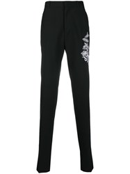 Alexander Mcqueen Foliage Embroidered Tailored Trousers Black