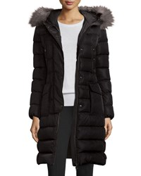 Moncler Khloe Quilted Puffer Coat W Fur Hood Black