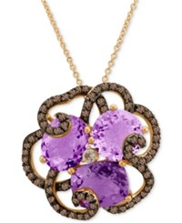 Le Vian Crazy Collection Amethyst 3 4 Ct. T.W. Smoky Quartz 5 8 Ct. T.W. And White Topaz Accent Pendant Necklace In 14K Rose Gold