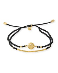 Tai Smiley Emoji Beaded Bracelet Black