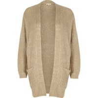 River Island Womens Petite Beige Knit Sequin Cardigan